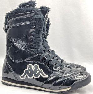 Kappa high top black glossy sneakers